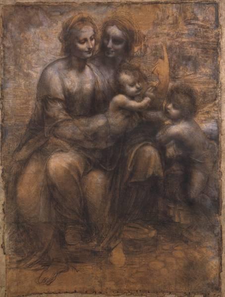 Leonardo da Vinci Cartoon of the Virgin and Child with St Anne and St John